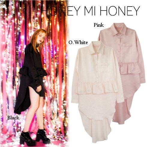 Honey mi Honey (ハニーミーハニー)<br>satin peplum shirtone-piece  16秋冬【16A-TA-07】 フレアワンピース sale