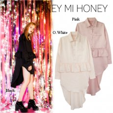 Honey mi Honey (ハニーミーハニー)<br>satin peplum shirtone-piece  16秋冬【16A-TA-07】 フレアワンピース
