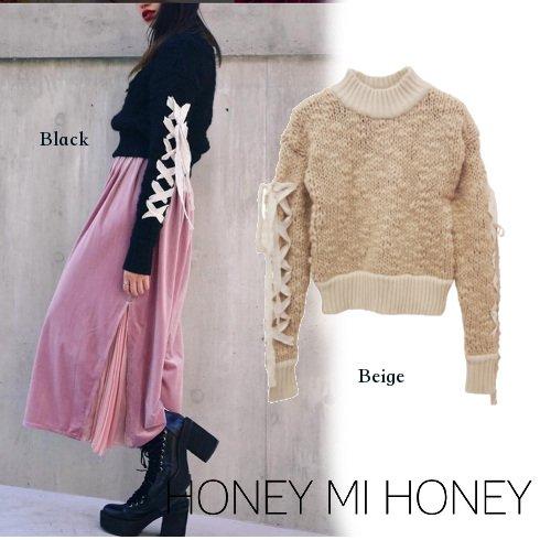Honey mi Honey (ハニーミーハニー)<br>laceup sleeve knit  16秋冬【16A-WV-06】 ニットトップス sale