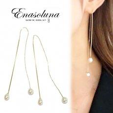 Enasoluna(エナソルーナ)<br>Two face pearl pierced 【EN-PS-1187】 ピアス・イヤリング