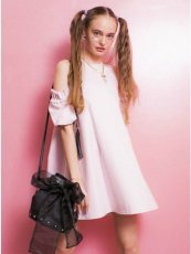 Honey mi Honey (ハニーミーハニー)<br>tacfrillshoulder denim one-piece  17春夏【17S-TA-02】