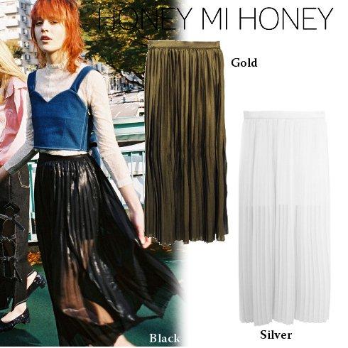 Honey mi Honey (ハニーミーハニー)<br>glitter pleatsskirt 【17S-TA-07】 ロング・マキシスカート sale