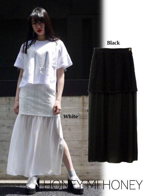 Honey mi Honey (ハニーミーハニー)<br>deformation lace layer skirt .【17S-TA-38】 ロング・マキシスカート sale