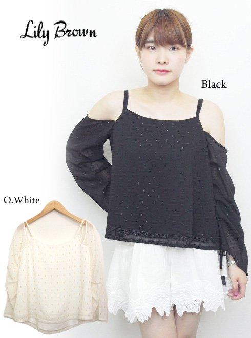 Lily Brown(リリーブラウン)<br>シフォンショルダートップス .【LWFT172126】 カットソー sale