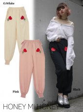 Honey mi Honey (ハニーミーハニー)<br>satin rose pants  17秋冬予約【17A-WV-07】