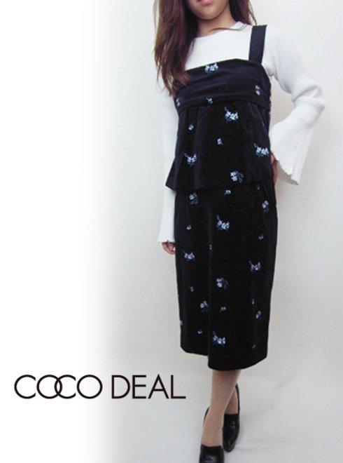 COCO DEAL(ココディール)<br>ベロア総フラワータイトスカート  17秋冬.【77717366】 タイトスカート sale