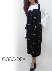 COCO DEAL(ココディール)<br>ベロア総フラワータイトスカート  17秋冬.【77717366】 タイトスカート