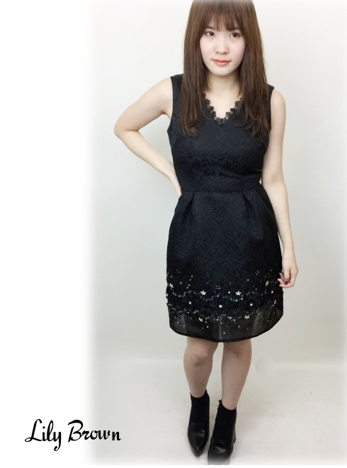 Lily Brown(リリーブラウン)<br>ジャガード透けワンピース  17秋冬.【LWFO175814】 フレアワンピース sale