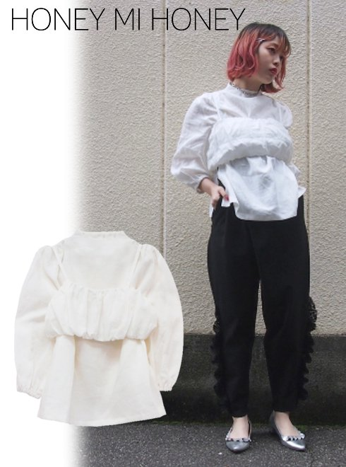 Honey mi Honey (ハニーミーハニー)<br>linen blouse  18春夏【18S-TA-05】18sspre シャツ・ブラウス sale