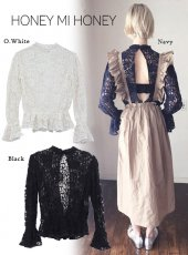 Honey mi Honey (ハニーミーハニー)<br>lace backslit blouse  18春夏予約【18S-VG-14】