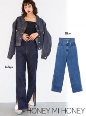 Honey mi Honey (ハニーミーハニー)<br>side slit highwaste denim pants  18春夏【18S-WV-06】18sspre デニムパンツ