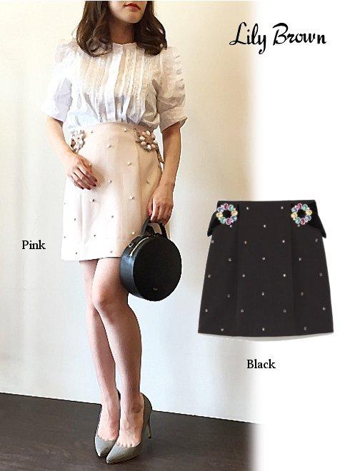 Lily Brown(リリーブラウン)<br>ビジュ—バックル台形スカート  18春夏【LWFS181816】18sspre タイトスカート sale
