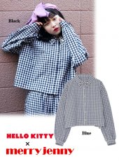 merry jenny(メリージェニー)<br>HELLO KITTY gingham shirt  18春夏.【281810405101】