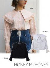 Honey mi Honey (ハニーミーハニー)<br>bigcollar stripe blouse  18秋冬【18A-TA-02】 シャツ・ブラウス 18awpre