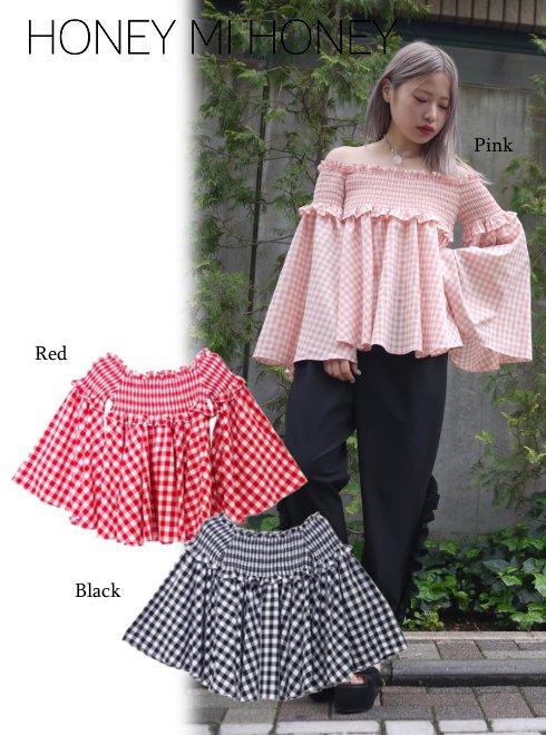 Honey mi Honey (ハニーミーハニー)<br>ginghamcheck offshoulder blouse  18春夏.【18S-TA-16】18sspre シャツ・ブラウス sale