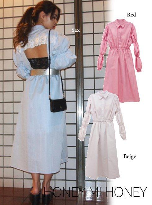 Honey mi Honey (ハニーミーハニー)<br>backopen stripe one-piece  18春夏.【18S-TA-17】18sspre フレアワンピース sale
