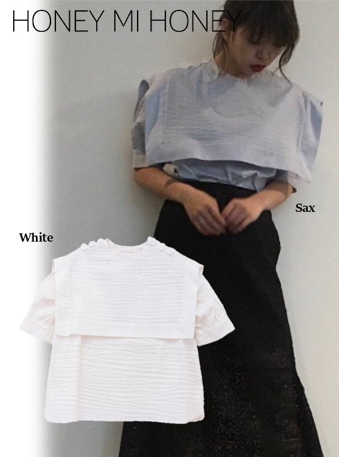 Honey mi Honey (ハニーミーハニー)<br>stripe sailor blouse  18春夏.【18S-TA-27】18sspre シャツ・ブラウス sale