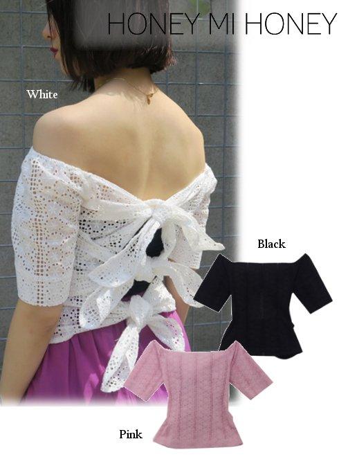 Honey mi Honey (ハニーミーハニー)<br>2way cottonlace blouse  18春夏.【18S-TA-35】18sspre シャツ・ブラウス sale