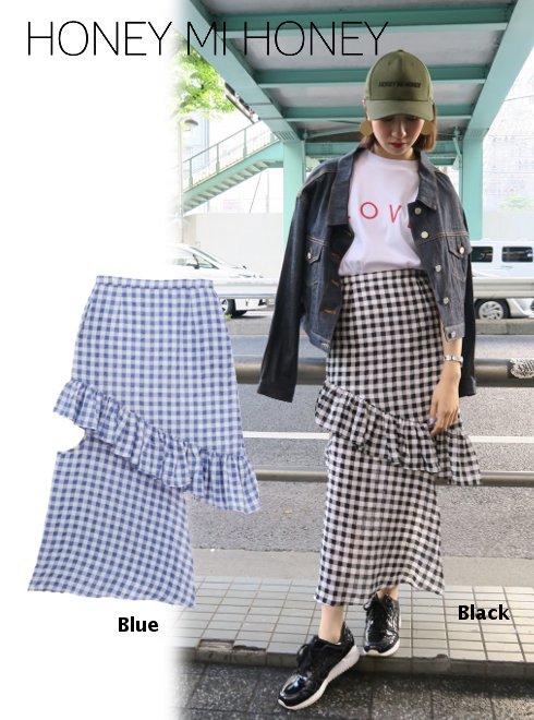 Honey mi Honey (ハニーミーハニー)<br>design ginghamcheck skirt  18春夏.【18S-TA-41】18sspre フレアスカート sale