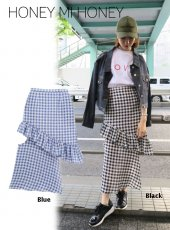 Honey mi Honey (ハニーミーハニー)<br>design ginghamcheck skirt  18春夏.【18S-TA-41】18sspre フレアスカート sale