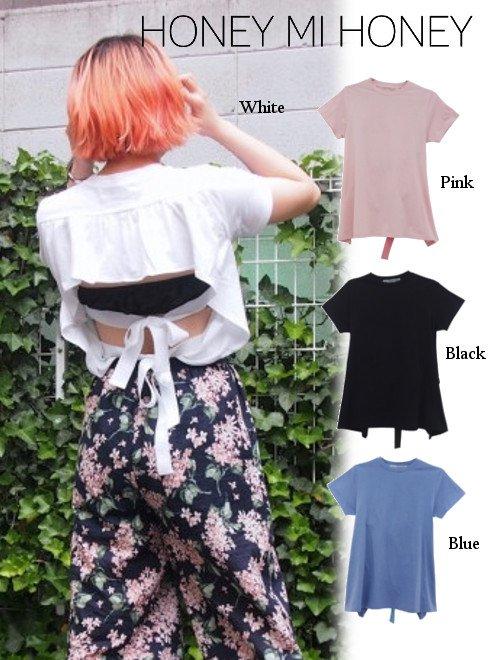 Honey mi Honey (ハニーミーハニー)<br>backribbon T-shirt  18春夏.【18S-VG-27】18sspre Tシャツ sale