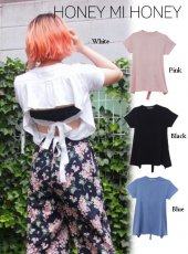 Honey mi Honey (ハニーミーハニー)<br>backribbon T-shirt  18春夏.【18S-VG-27】18sspre Tシャツ sale