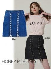 Honey mi Honey (ハニーミーハニー)<br>laceup denim miniskirt  18春夏.【18S-WV-36】18sspre タイトスカート