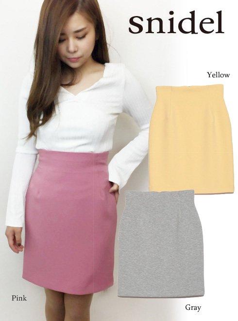 snidel(スナイデル)<br>シンプルタイトミニスカート  18春夏.【SWFS182107】18sspre タイトスカート sale