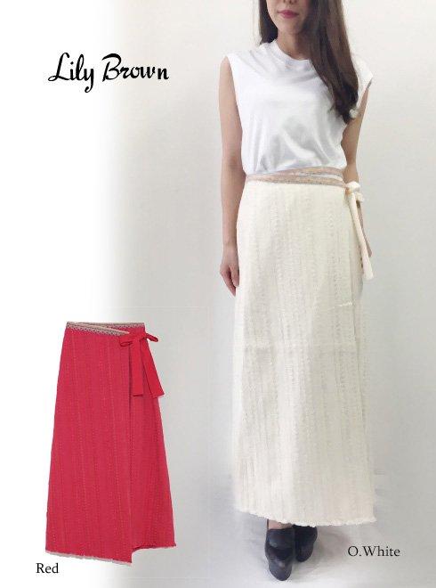 Lily Brown(リリーブラウン)<br>ツイードラップスカート  18春夏.【LWFS182071】18sspre フレアスカート sale