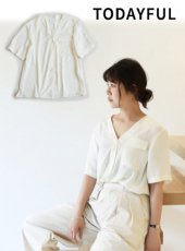 TODAYFUL(トゥデイフル)<br>Collarless Satin Blouse  18秋冬【11820409】 18awpre