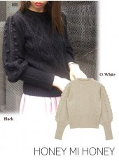 Honey mi Honey (ハニーミーハニー)<br>puffsleeve cable knit  18秋冬予約【18A-SW-07】受注会