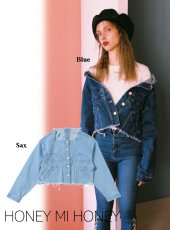 Honey mi Honey (ハニーミーハニー)<br>cutoff cropped denim jacket  18秋冬予約【18A-WV-04】受注会