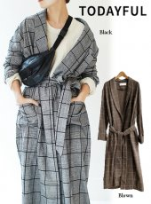 TODAYFUL(トゥデイフル)<br>Brushed Check Gown  18秋冬.【11820423】ウールコート 18awpreTODAYFUL