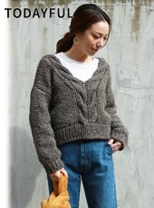 TODAYFUL(トゥデイフル)<br>Cable Hand Knit  18秋冬.【11820536】ニットトップス