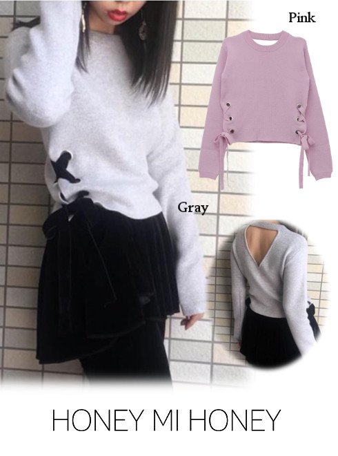 Honey mi Honey (ハニーミーハニー)<br>sidelaceup 2way knit  18秋冬.【18A-SW-09】ニットトップス 18awpreHoney sale
