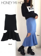 Honey mi Honey (ハニーミーハニー)<br>cutting mohairknit skirt  18秋冬.【18A-SW-14】タイトスカート