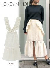 Honey mi Honey (ハニーミーハニー)<br>2way wool salopette skirt  18秋冬.【18A-VG-20】フレアスカート