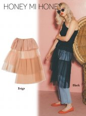 Honey mi Honey (ハニーミーハニー)<br>asymmetry tulle skirt  18秋冬.【19S-TA-06】ロング・マキシスカート 18awpreHoney sale
