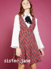 sister jane(シスタージェーン)<br>Vamp Check Pinafore Dress  18秋冬.【18SJ02DR994】フレアワンピース 18awpresister