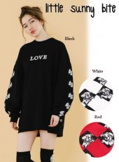 LITTLE SUNNY BITE(リトルサニーバイト)<br>DisneyChecker stitched sleeve sweater  18秋冬【LSB-LTOP-150K】ニットトップス