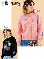 LITTLE SUNNY BITE(リトルサニーバイト)<br>Stitched message sweater  18秋冬【LSB-LTOP-160K】ニットトップス 18awpre