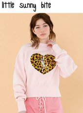 LITTLE SUNNY BITE(リトルサニーバイト)<br>Stiched big heat sweater  18秋冬【LSB-LTOP-121K】ニットトップス 18awpreLITTLE