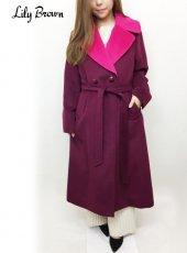 Lily Brown(リリーブラウン)<br>ライナー付ダブルロングコート  18秋冬.【LWFC185018】ウールコート 18awpre