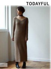 TODAYFUL(トゥデイフル)<br>Vneck Knit Dress  19春夏【11910306】マキシワンピース