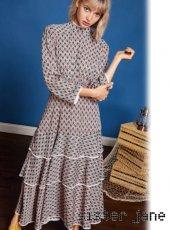 sister jane(シスタージェーン)<br>Tiered Midi Dress with Trim  19春夏【19SJ01DR1022PNK】フレアワンピース