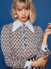 sister jane(シスタージェーン)<br>Polo Top in Sheer Print  19春夏予約【19SJ01TO394PNK】シャツ・ブラウス
