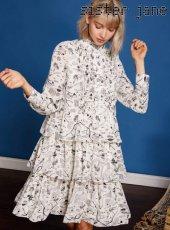 sister jane(シスタージェーン)<br>Vacation Print Tiered Dress  19春夏【19SJ01DR1025IVO】フレアワンピース