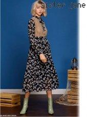 sister jane(シスタージェーン)<br>Mixed Print Midi Dress  19春夏【19SJ01DR1026BLK】フレアワンピース