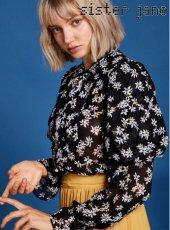 sister jane(シスタージェーン)<br>Floral Puff Sleeve Shirt  19春夏【19SJ01BL804BLK】シャツ・ブラウス