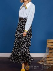 sister jane(シスタージェーン)<br>Floral Ruffle Midi Skirt  19春夏【19SJ01SK322BLK】ロング・マキシスカート